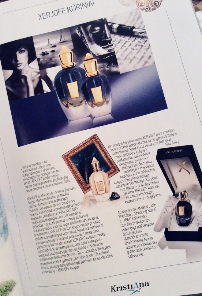 Xerjoff in Kristiana magazine | photo by BonjourPerfume